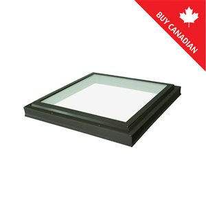 Columbia Triple Pane Glass Curb Mount Fixed Skylight- 46.5-in x46.5-in - Brown