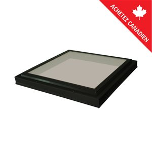 Columbia Tempered Tinted Glass Curb Mount Fixed Skylight- 22.5-in x22.5-in - Black