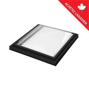 Columbia Acrylic Double Dome Curb Mount Fixed Skylight- 22.5-in x22.5-in - Black