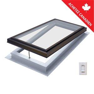 Columbia Triple Pane Glass Self-Flashing Electric Venting Skylight- 22.5-in x22.5-in - Brown