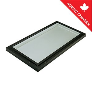 Columbia Tempered Neat Glass Curb Mount Fixed Skylight- 22.5-in x46.5-in - Black