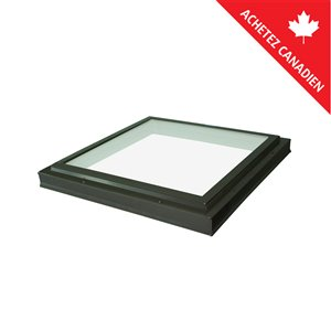 Columbia Tempered Neat Glass Curb Mount Fixed Skylight- 22.5-in x22.5-in - Brown