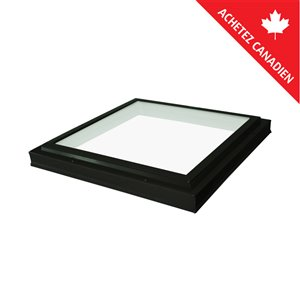 Columbia Tempered Neat Glass Curb Mount Fixed Skylight- 46.5-in x46.5-in - Black