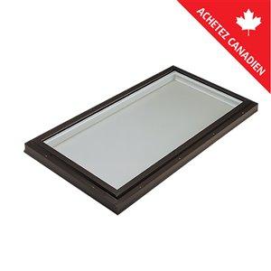 Puits de lumière fixe en verre trempé et monté sur cadre de Columbia, 22,5po x 34,5po, brun