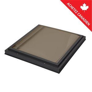 Puits de lumière fixe en dôme acrylique teinté, monté sur cadre de Columbia, 22,5po x 22,5po, brun