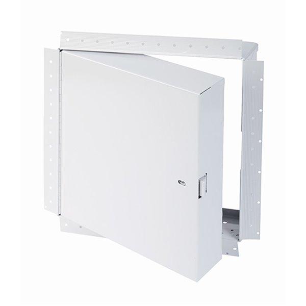 Panneau d'accès coupe-feu isolé avec rebord de boue de Best Access Doors en métal, 12po x 12po, blanc