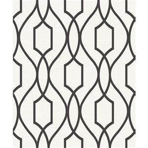 Papier peint non encollé et non tissé Evelyn Geo d'Advantage, motif géométrique, 56,4 pi², noir