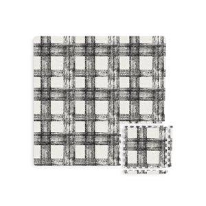 Tuile de mousse emboîtable Sawyer Plaid de FloorPops, intérieur, 3 pi x 3pi, noir et blanc