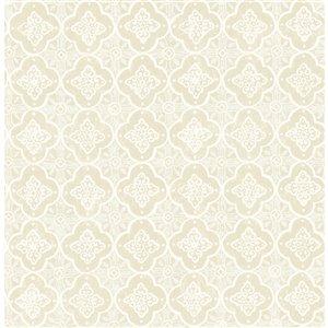 Papier peint non encollé et non tissé Seville Brewster Essentials d'Advantage, motif géométrique, 56,4 pi², beige/crème