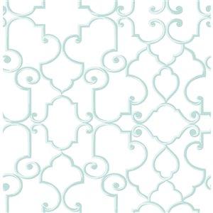 Papier peint non encollé et non tissé Lilles Brewster Essentials d'Advantage, motif géométrique, 56,4 pi², aqua