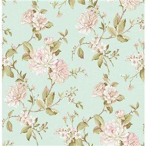 Papier peint non encollé et non tissé Mandir Brewster Essentials d'Advantage, motif floral, 56,4 pi², bleu pâle