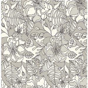 Papier peint non encollé et non tissé Toulouse Brewster Essentials d'Advantage, motif floral, 56,4 pi², taupe
