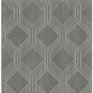 Papier peint non encollé et non tissé Colmar Brewster Essentials d'Advantage, motif géométrique, 56,4 pi², gris anthracite