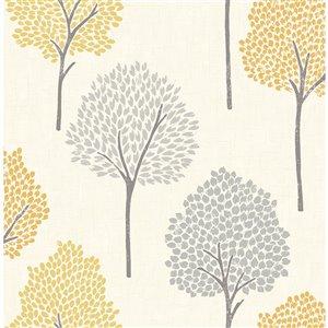 Papier peint non encollé et non tissé Andover Brewster Essentials d'Advantage, motif de lierre, 56,4 pi², moutarde