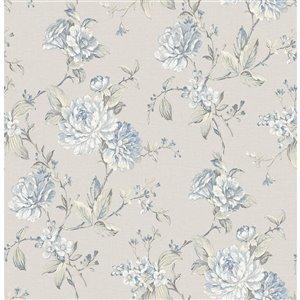 Papier peint non encollé et non tissé Mandir Brewster Essentials d'Advantage, motif floral, 56,4 pi², gris