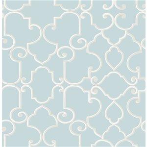 Papier peint non encollé et non tissé Lilles Brewster Essentials d'Advantage, motif géométrique, 56,4 pi², sarcelle