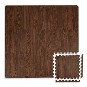 Tuile de mousse emboîtable Craftsman de FloorPops, intérieur, 3 pi x 3 pi, brun foncé