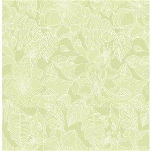 Papier peint non encollé et non tissé Toulouse Brewster Essentials d'Advantage, motif floral, 56,4 pi², citron vert
