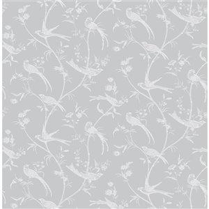 Papier peint non encollé et non tissé Norwich Brewster Essentials d'Advantage, 56,4 pi², gris clair