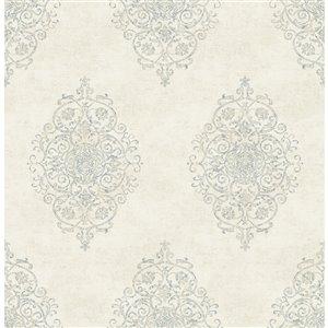 Papier peint non encollé et non tissé Garwood Brewster Essentials d'Advantage, motif damassé, 56,4 pi², crème