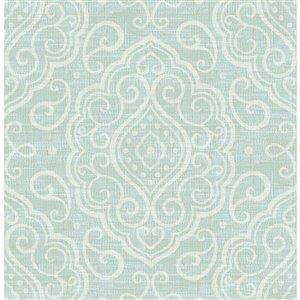 Papier peint non encollé et non tissé Troyes Brewster Essentials d'Advantage, motif médaillon, 56,4 pi², aqua