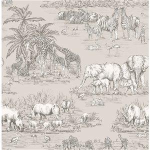 Papier peint non encollé et non tissé Durban Brewster Essentials d'Advantage, motif animalier, 56,4 pi², gris