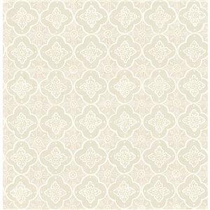 Papier peint non encollé et non tissé Seville Brewster Essentials d'Advantage, motif géométrique, 56,4 pi², beige