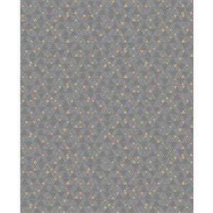 Papier peint non encollé et non tissé Rabat Brewster Essentials d'Advantage, motif géométrique, 56,4 pi², taupe