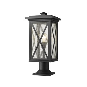 Z-Lite Brookside 21.5-in x 9.5-in Black Hardwired Incandescent Complete Pier-Mounted Light