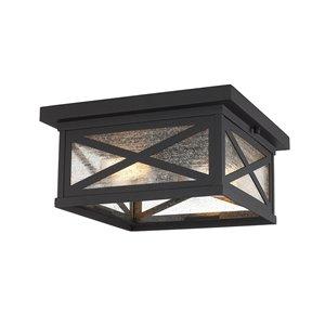 Z-Lite Brookside 1-Light 12-in W Black Hardwired Outdoor Flushmount Light