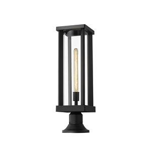 Z-Lite Glenwood 22-in x 7.5-in Black Hardwired Incandescent Complete Pier-Mounted Light