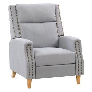 Fauteuil inclinable avec repose-pied extensible moderne contemporain Lynwood avec finition cloutée de CorLiving, gris clair