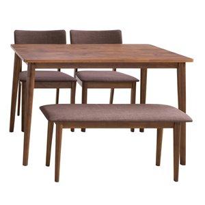 Ensemble de salle à manger Branson de CorLiving avec table rectangulaire, 2 chaises et 1 banc, 27po x45po, noix chaude/br