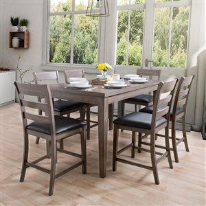 Ensemble de salle à manger New York de CorLiving avec table rectangulaire et 6 chaises, 35po x59po, gris lavé/noir