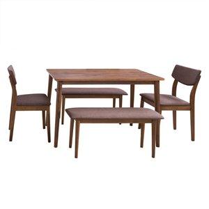 Ensemble de salle à manger Branson de CorLiving avec table rectangulaire, 2 chaises et 2 bancs, 27po x45po, noix chaude/b