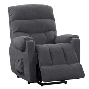 CorLiving Dallas Contemporary/Modern Synthetic Chenille Fabric Recliner - Navy Blue