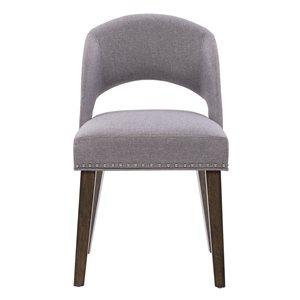 Chaises de salle à manger Tiffany en tissu et armature de bois par CorLiving, lot de 2, espresso/gris étain