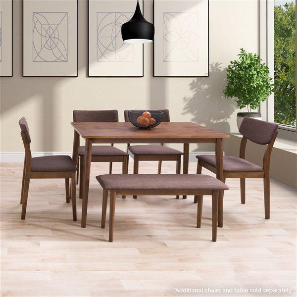 Banc de salle à manger rectangulaire Branson de Corliving, tweed brun