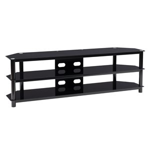 CorLiving Travers Modern/Contemporary TV Bench for TV up to 85-in - 3-Shelf - Gloss Black