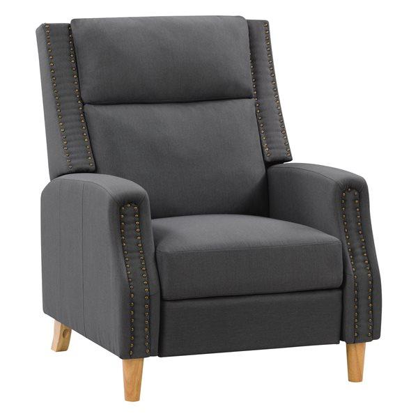 Fauteuil inclinable avec repose-pied extensible moderne contemporain Lynwood avec finition cloutée de CorLiving, gris foncé