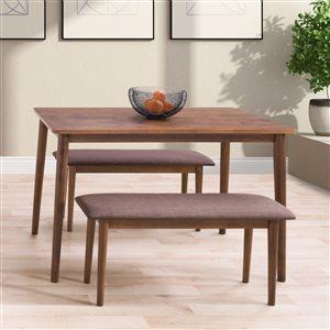 Ensemble de salle à manger Branson de CorLiving avec table rectangulaire et 2 bancs, 27po x45po, noix chaude/brun