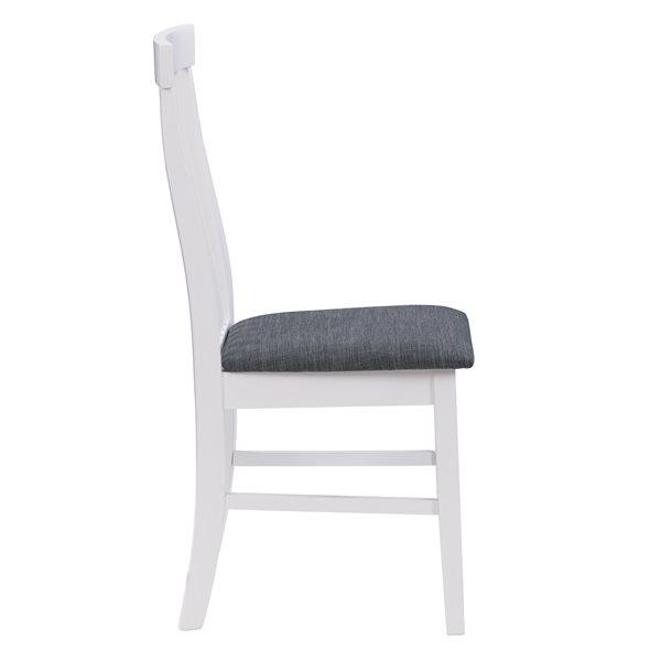 Chaises de salle à manger Michigan en tissu et armature de bois par CorLiving, lot de 2, blanc/gris
