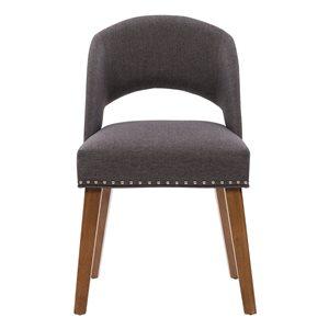 Chaises de salle à manger Tiffany en tissu et armature de bois par CorLiving, lot de 2, noisette/gris foncé