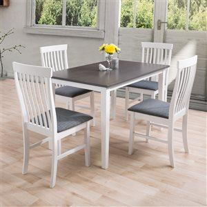Ensemble de salle à manger contemporain Michigan de CorLiving avec table rectangulaire et 4 chaises, 30po x47po, blanc/gr