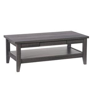 Table basse contemporaine Hollywood avec fini stratifié, 2 tiroirs et 1 tablette, gris
