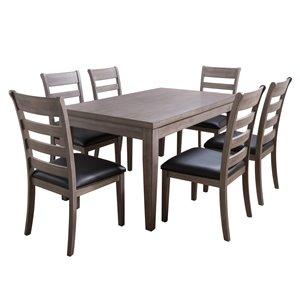Ensemble de salle à manger New York de CorLiving avec table rectangulaire, 6 chaises, 35po x59po, gris lavé/noir
