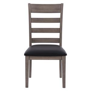 Chaises de salle à manger New York en faux cuir et armature de bois par CorLiving, lot de 2, noir/gris lavé