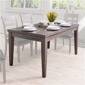 Table de salle à manger classique rectangulaire fixe New York avec plateau en placage de bois par CorLiving, gris lavé