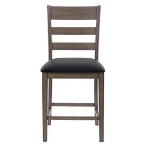 Chaises de comptoir New York en faux cuir et armature de bois par CorLiving, lot de 2, gris lavé/noir