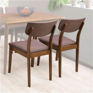 Chaises de salle à manger Branson en tissu et armature de bois par CorLiving, lot de 2, noix chaude/brun